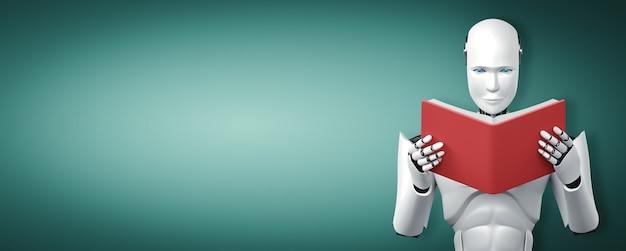Ilustração 3d do livro de leitura do robô humanóide