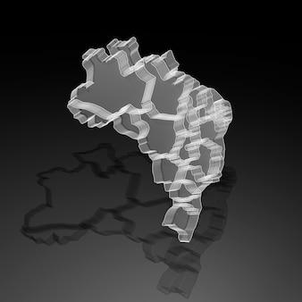 Ilustração 3d do mapa do brasil em acrílico translúcido em fundo preto com sombra