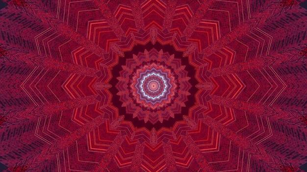 Ilustração 3d do modelo de design de fundo visual abstrato com ornamento em forma de flor vermelha simétrica e efeito de ilusão de ótica de túnel sem fim
