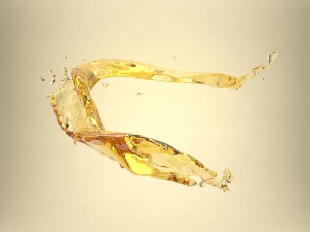 Ilustração 3d do modelo de respingo amarelo isolado para óleo vegetal, chá, motor ou soro líquido