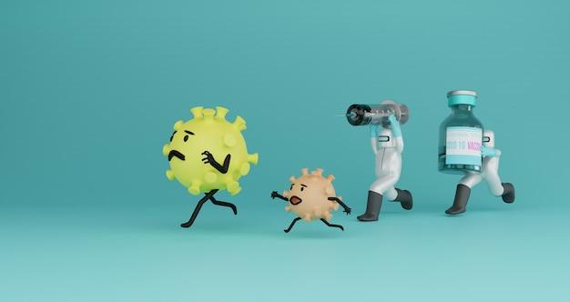Ilustração 3d do oficial corona pegando o vírus com injeção e vacina