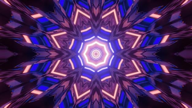 Ilustração 3d do padrão abstrato do caleidoscópio hipnótico com luzes de néon brilhantes refletindo em figuras geométricas brilhantes