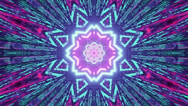 Ilustração 3d do padrão de caleidoscópio com cores brilhantes brilhando com raios simétricos como abstrato