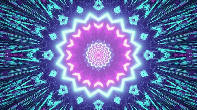 Ilustração 3d do padrão de caleidoscópio de fractal brilhante com iluminação de néon simétrica como abstrato