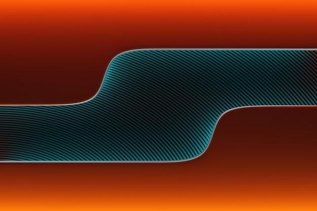 Ilustração 3d do padrão de linhas cruzadas brilhante abstrato azul e laranja