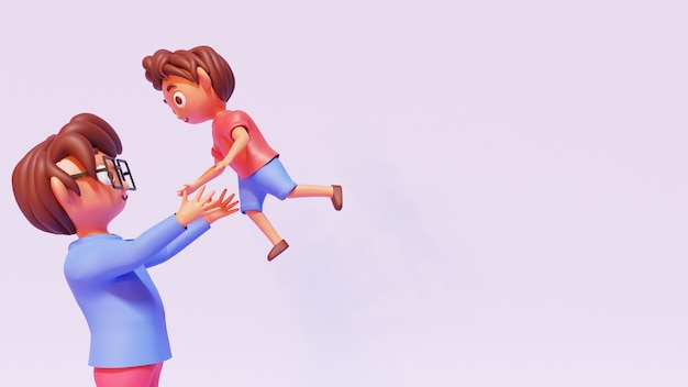 Ilustração 3d do pai jogando seu filho no fundo rosa com espaço de cópia.
