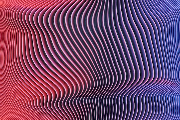 Ilustração 3d do portal de linhas rosa e azul