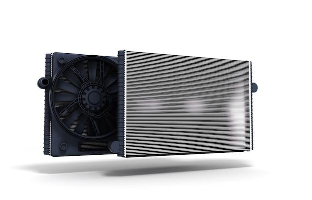 Ilustração 3d do radiador do carro isolado no fundo branco