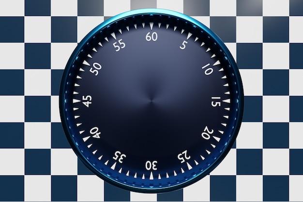 Ilustração 3d do relógio preto redondo, cronômetro em um fundo xadrez preto e branco. ícone do cronômetro, logotipo. cronômetro, cronômetro vintage