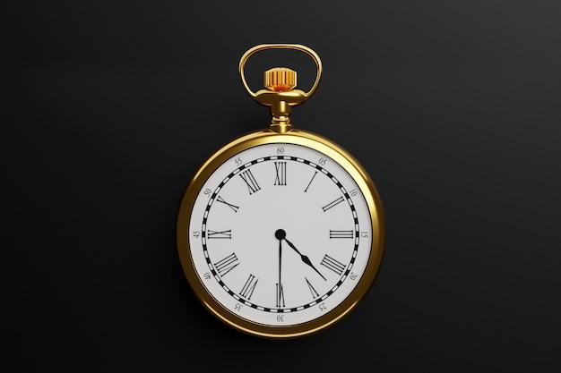Ilustração 3d do relógio redondo de ouro antigo sobre fundo preto isolado.