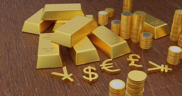 Ilustração 3d do renderring de barras de ouro e de símbolos de moeda dourados na tabela de madeira.