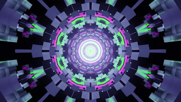 Ilustração 3d do resumo de um túnel redondo com tijolos iluminados por luzes de néon verdes e roxas