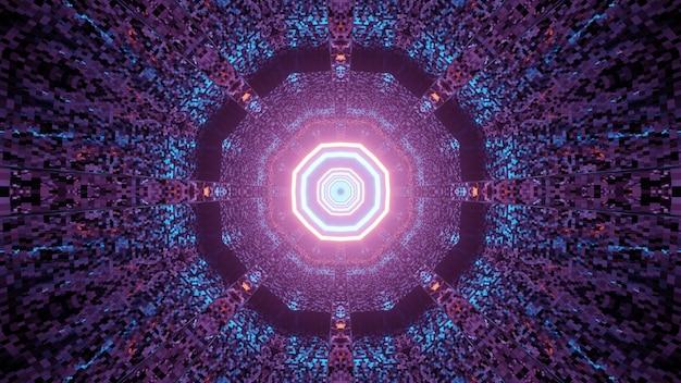Ilustração 3d do resumo do túnel sem fim de néon em forma de círculo com luzes vermelhas e azuis brilhantes