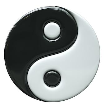 Ilustração 3d do símbolo yin yang isolado no fundo branco