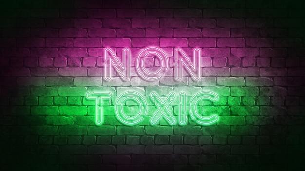 Ilustração 3d do sinal de néon não tóxico. sinal de néon de design não tóxico, faixa de luz, tabuleta de néon, publicidade noturna brilhante, inscrição de luz