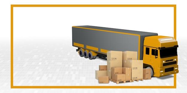 Ilustração 3d do sistema de transporte internacional de caminhões de carga e entregas