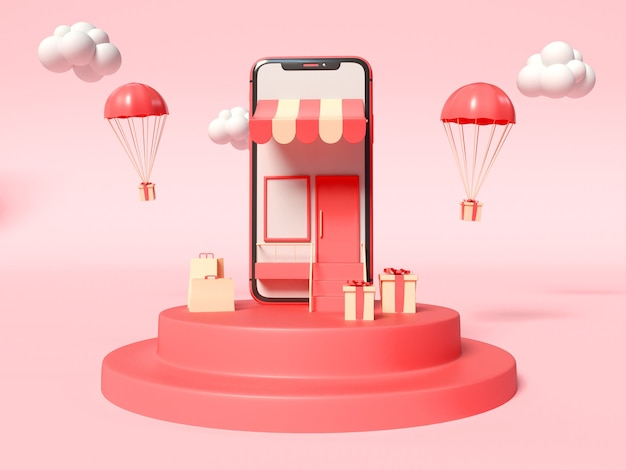 Ilustração 3d do smartphone com uma loja na tela e caixas de presente ao lado