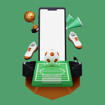 Ilustração 3d do smartphone com vista para o estádio de futebol e a copa do troféu de bronze sobre fundo verde.