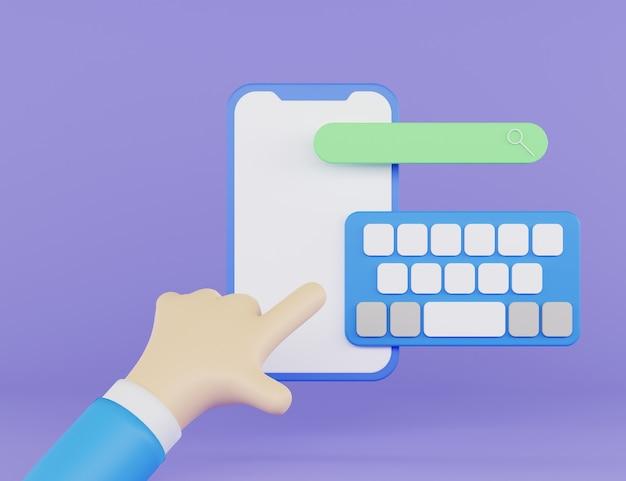 Ilustração 3d do telefone com teclado pop-up e pesquisa pop-up com mão 3d e fundo roxo