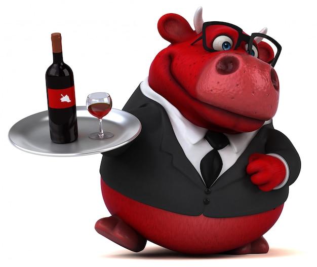 Ilustração 3d do touro vermelho