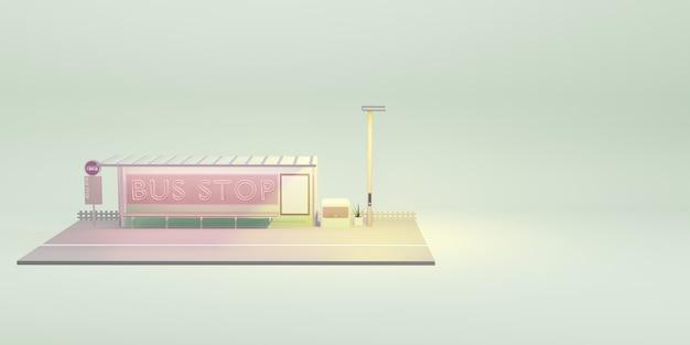 Ilustração 3d do transporte público da cidade dos desenhos animados da parada de ônibus
