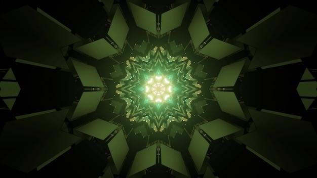 Ilustração 3d do túnel de ficção científica com design de interiores em forma de estrela e luzes de néon verdes para um fundo geométrico futurista abstrato