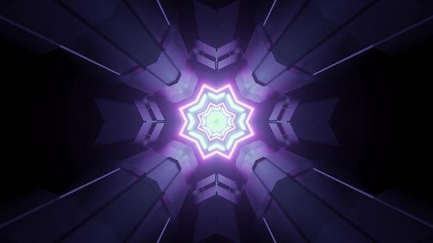 Ilustração 3d do túnel do mundo virtual geométrico com buracos em forma de estrela e iluminação futurista de néon para ficção científica abstrata