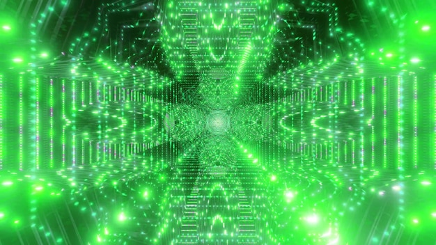Ilustração 3d do túnel do projeto do espaço uhd brilhante verde brilhante 4k