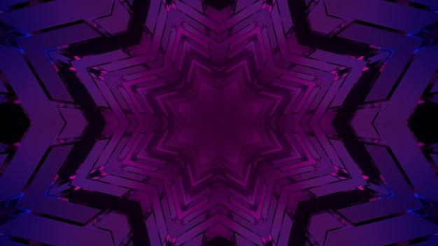 Ilustração 3d do túnel fractal roxo