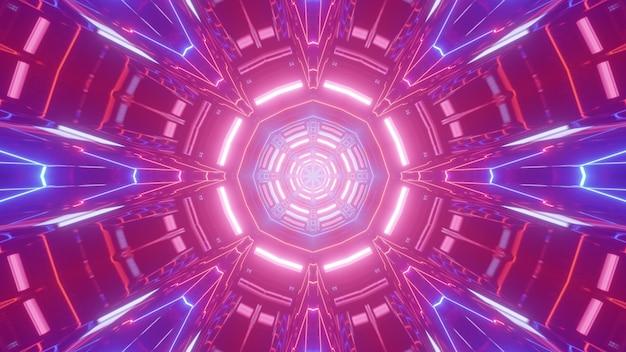 Ilustração 3d do túnel redondo abstrato iluminado com vibrantes luzes rosa e azuis