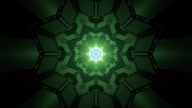 Ilustração 3d do túnel simétrico no escuro com luzes de néon verdes refletindo nas paredes geométricas