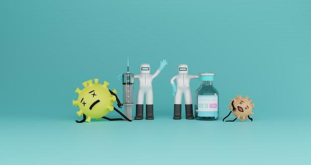 Ilustração 3d do vírus oficial com as mãos ao alto e o vírus da morte após aplicar a vacina injetável