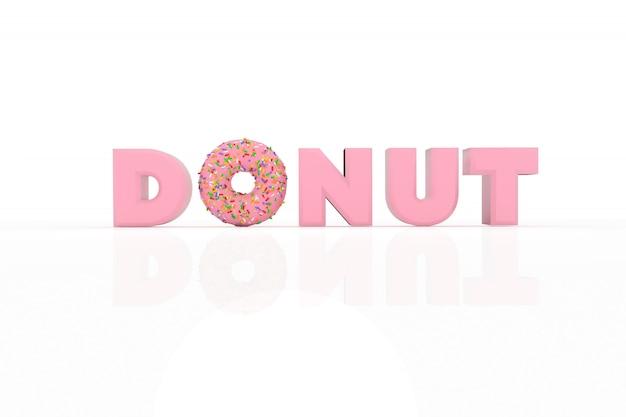 Ilustração 3d donut e texto