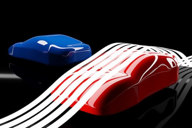 Ilustração 3d dos contornos de dois carros de corrida azuis e vermelhos com reflexos em um fundo preto