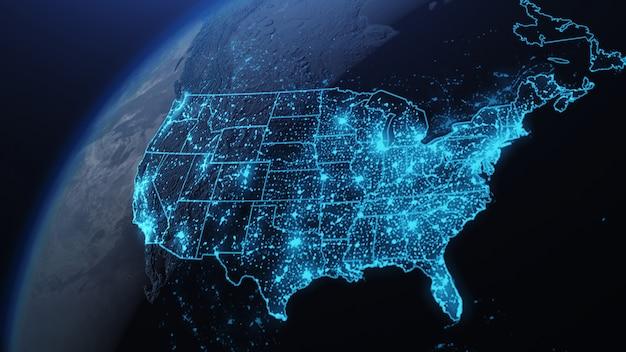 Ilustração 3d dos eua e da américa do norte do espaço à noite com luzes da cidade