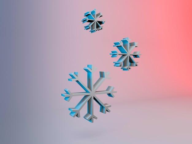 Ilustração 3d dos flocos de neve de natal em um fundo gradiente