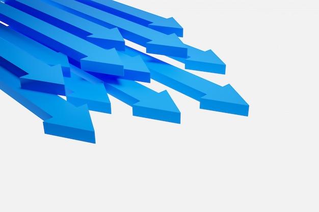 Ilustração 3d dos ícones azuis diferentes das setas. setas mostrando o movimento para a frente.