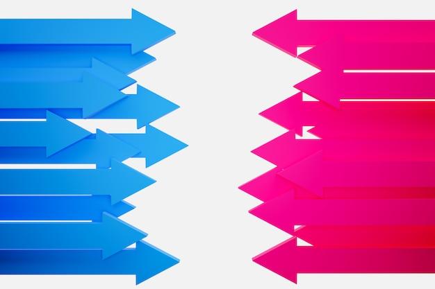 Ilustração 3d dos ícones diferentes das setas azuis e azuis. setas mostrando movimento umas sobre as outras.
