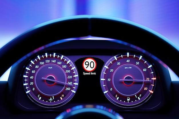 Ilustração 3d dos novos detalhes do interior do carro