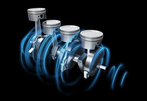 Ilustração 3d dos pitons do motor com trilhas de energia