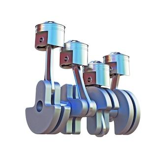 Ilustração 3d dos pitons do motor isolados no branco
