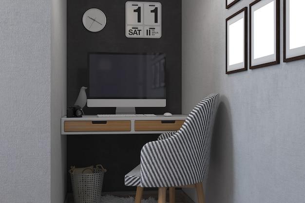 Ilustração 3d dos quartos em um estilo escandinavo