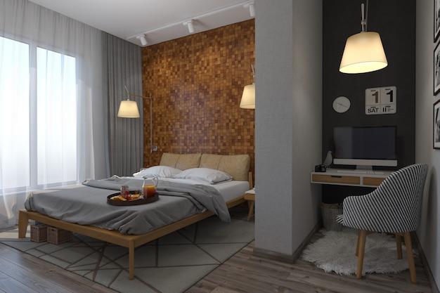 Ilustração 3d dos quartos no estilo escandinavo