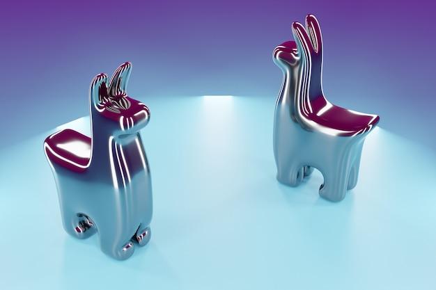 Ilustração 3d duas estatuetas de lhama de metal estão lado a lado.