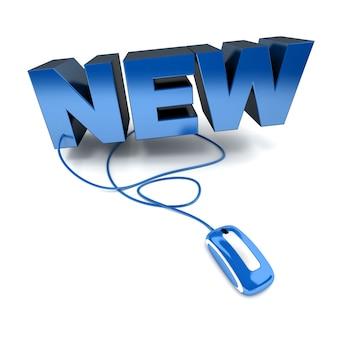 Ilustração 3d em azul e branco da palavra novo conectado a um mouse de computador