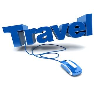 Ilustração 3d em azul e branco da palavra viagem conectada a um mouse de computador