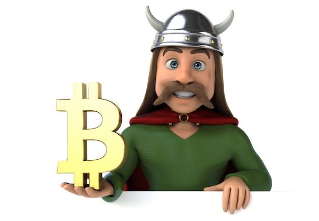 Ilustração 3d engraçada da gália com símbolo de bitcoin