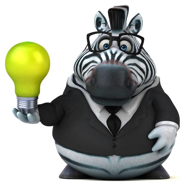 Ilustração 3d engraçada da zebra
