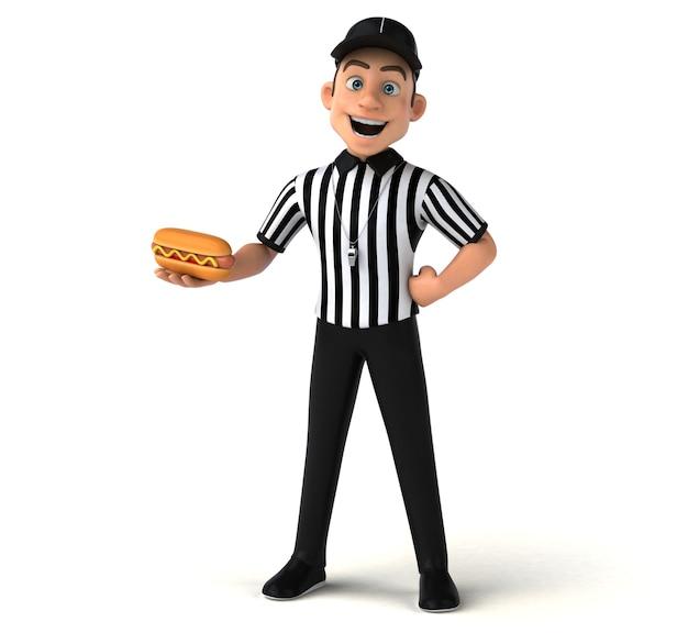 Ilustração 3d engraçada de um árbitro americano com cachorro-quente