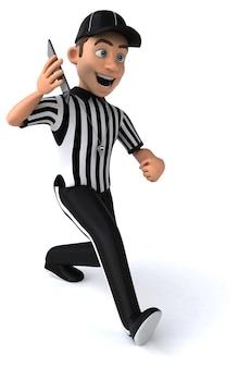 Ilustração 3d engraçada de um árbitro americano com um smartphone